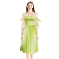 Green Soft Springtime Gradient Shoulder Tie Bardot Midi Dress
