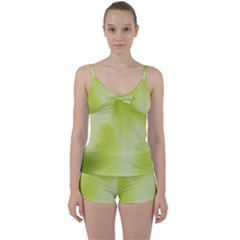 Green Soft Springtime Gradient Tie Front Two Piece Tankini