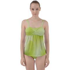 Green Soft Springtime Gradient Twist Front Tankini Set