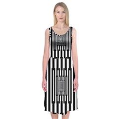 Black Stripes Endless Window Midi Sleeveless Dress