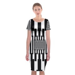Black Stripes Endless Window Classic Short Sleeve Midi Dress