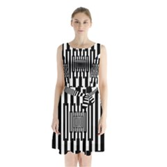 Black Stripes Endless Window Sleeveless Waist Tie Chiffon Dress