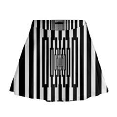 Black Stripes Endless Window Mini Flare Skirt