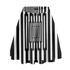 Black Stripes Endless Window High Waist Skirt