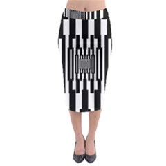 Black Stripes Endless Window Midi Pencil Skirt