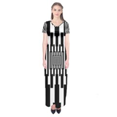 Black Stripes Endless Window Short Sleeve Maxi Dress
