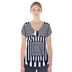 Black Stripes Endless Window Short Sleeve Front Detail Top