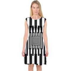Black Stripes Endless Window Capsleeve Midi Dress