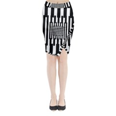 Black Stripes Endless Window Midi Wrap Pencil Skirt