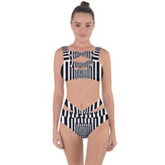 Black Stripes Endless Window Bandaged Up Bikini Set