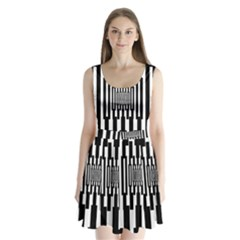Black Stripes Endless Window Split Back Mini Dress