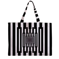 Black Stripes Endless Window Zipper Medium Tote Bag