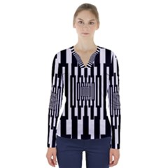 Black Stripes Endless Window V Neck Long Sleeve Top