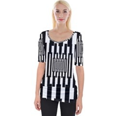 Black Stripes Endless Window Wide Neckline Tee