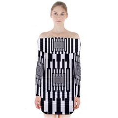 Black Stripes Endless Window Long Sleeve Off Shoulder Dress