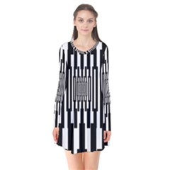 Black Stripes Endless Window Flare Dress