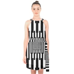 Black Stripes Endless Window Halter Collar Waist Tie Chiffon Dress