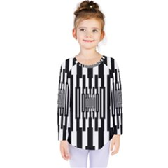 Black Stripes Endless Window Kids  Long Sleeve Tee