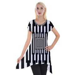 Black Stripes Endless Window Short Sleeve Side Drop Tunic