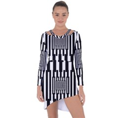 Black Stripes Endless Window Asymmetric Cut Out Shift Dress