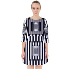 Black Stripes Endless Window Smock Dress