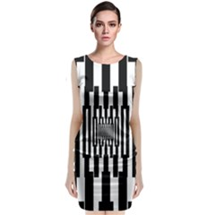 Black Stripes Endless Window Sleeveless Velvet Midi Dress