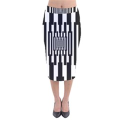 Black Stripes Endless Window Velvet Midi Pencil Skirt