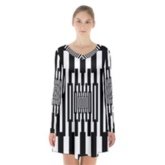 Black Stripes Endless Window Long Sleeve Velvet V Neck Dress