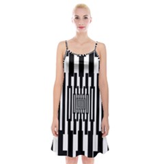 Black Stripes Endless Window Spaghetti Strap Velvet Dress
