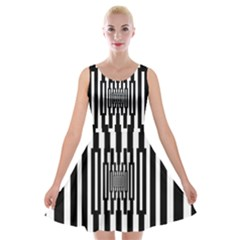 Black Stripes Endless Window Velvet Skater Dress