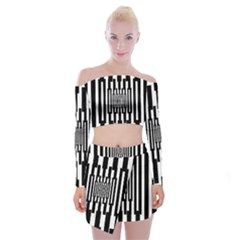 Black Stripes Endless Window Off Shoulder Top With Skirt Set