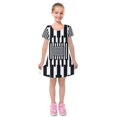 Black Stripes Endless Window Kids  Short Sleeve Velvet Dress