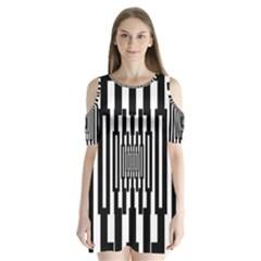 Black Stripes Endless Window Shoulder Cutout Velvet  One Piece
