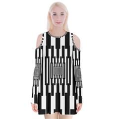 Black Stripes Endless Window Velvet Long Sleeve Shoulder Cutout Dress