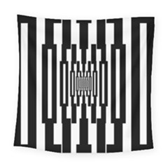 Black Stripes Endless Window Square Tapestry (large)