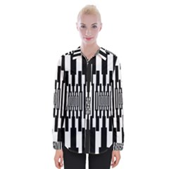 Black Stripes Endless Window Womens Long Sleeve Shirt