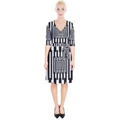 Black Stripes Endless Window Wrap Up Cocktail Dress