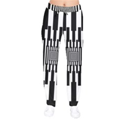 Black Stripes Endless Window Drawstring Pants