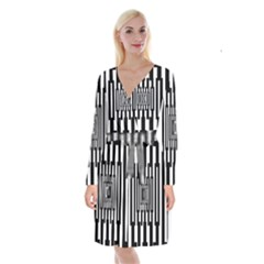 Black Stripes Endless Window Long Sleeve Velvet Front Wrap Dress