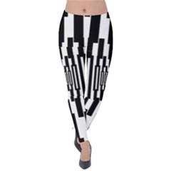 Black Stripes Endless Window Velvet Leggings