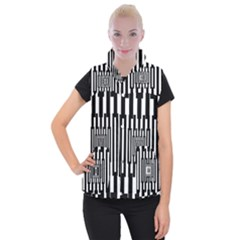 Black Stripes Endless Window Women s Button Up Puffer Vest