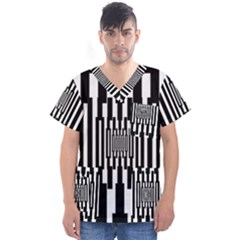 Black Stripes Endless Window Men s V Neck Scrub Top
