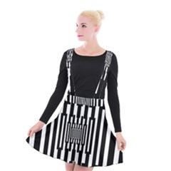 Black Stripes Endless Window Suspender Skater Skirt