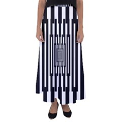 Black Stripes Endless Window Flared Maxi Skirt