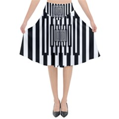 Black Stripes Endless Window Flared Midi Skirt