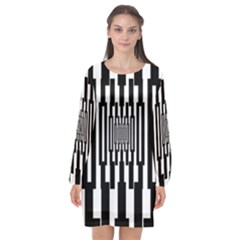 Black Stripes Endless Window Long Sleeve Chiffon Shift Dress