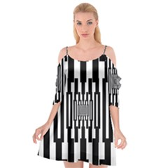 Black Stripes Endless Window Cutout Spaghetti Strap Chiffon Dress
