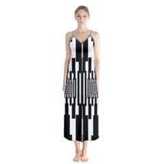 Black Stripes Endless Window Button Up Chiffon Maxi Dress