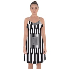 Black Stripes Endless Window Ruffle Detail Chiffon Dress