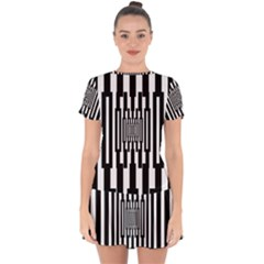 Black Stripes Endless Window Drop Hem Mini Chiffon Dress